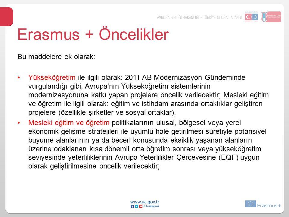 Erasmus + Öncelikler Bu maddelere ek olarak: Yükseköğretim ile ilgili olarak: 2011 AB Modernizasyon Gündeminde vurgulandığı gibi, Avrupa'nın Yükseköğr