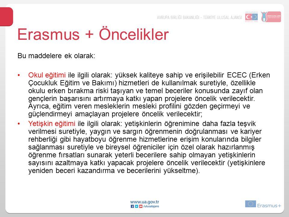 Erasmus + Öncelikler Bu maddelere ek olarak: Okul eğitimi ile ilgili olarak: yüksek kaliteye sahip ve erişilebilir ECEC (Erken Çocukluk Eğitim ve Bakı