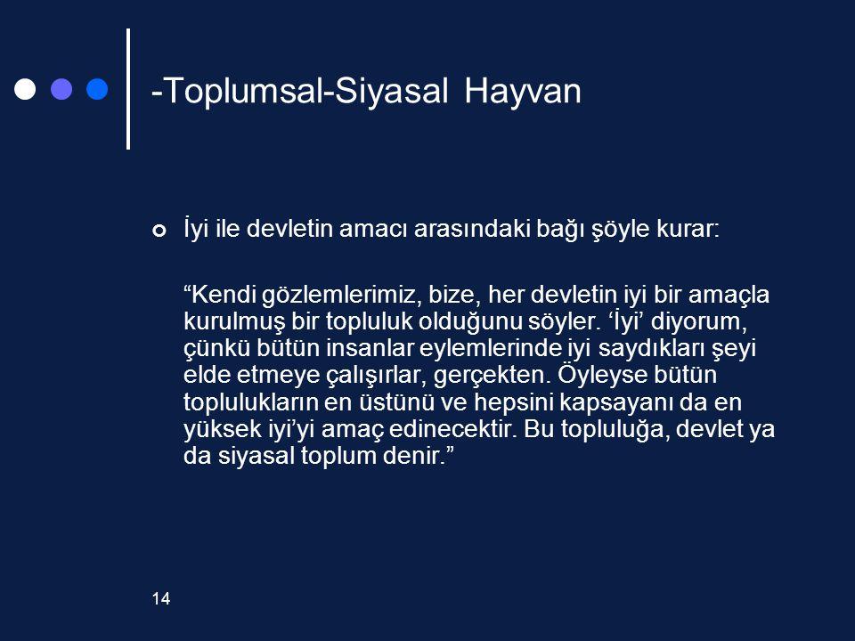 """14 -Toplumsal-Siyasal Hayvan İyi ile devletin amacı arasındaki bağı şöyle kurar: """"Kendi gözlemlerimiz, bize, her devletin iyi bir amaçla kurulmuş bir"""