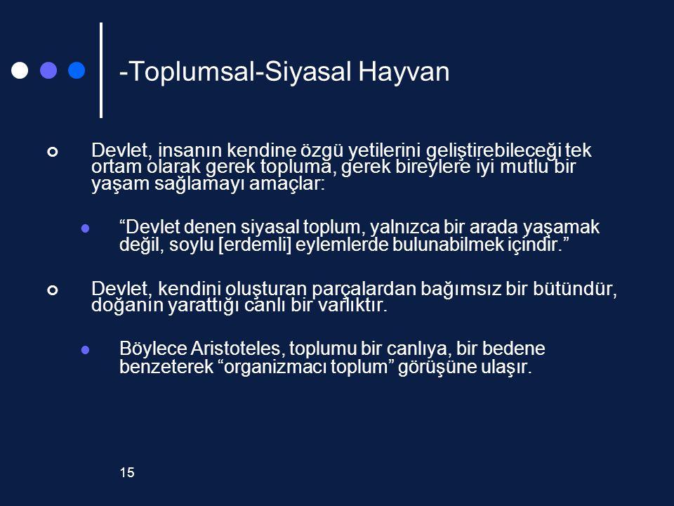 15 -Toplumsal-Siyasal Hayvan Devlet, insanın kendine özgü yetilerini geliştirebileceği tek ortam olarak gerek topluma, gerek bireylere iyi mutlu bir y