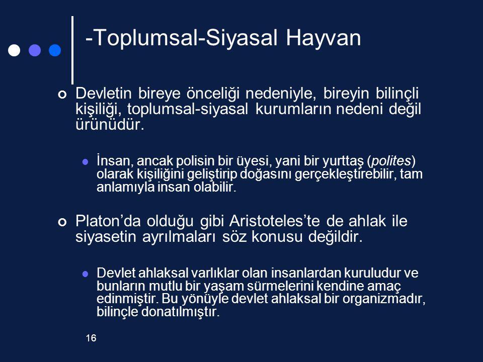 16 -Toplumsal-Siyasal Hayvan Devletin bireye önceliği nedeniyle, bireyin bilinçli kişiliği, toplumsal-siyasal kurumların nedeni değil ürünüdür. İnsan,