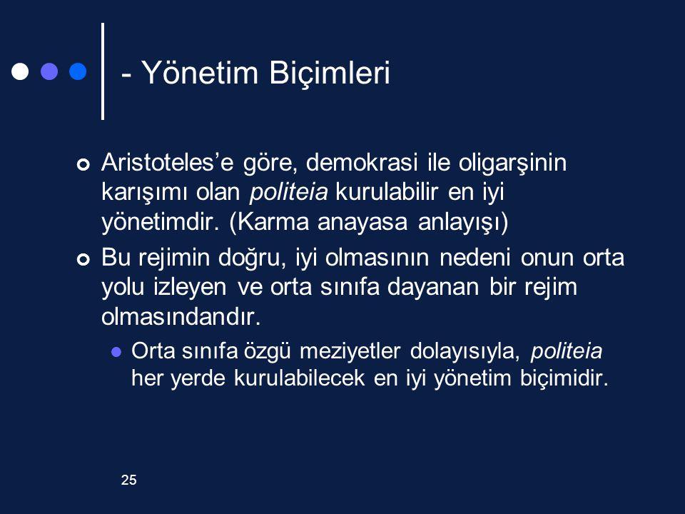 25 - Yönetim Biçimleri Aristoteles'e göre, demokrasi ile oligarşinin karışımı olan politeia kurulabilir en iyi yönetimdir. (Karma anayasa anlayışı) Bu