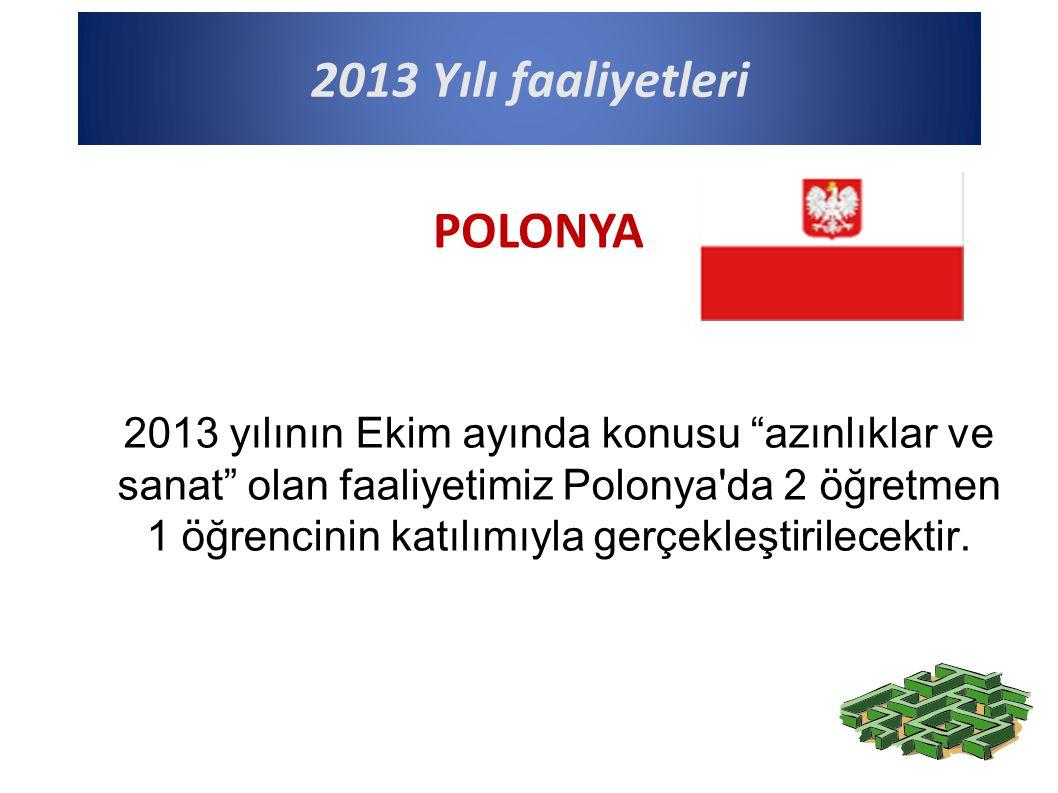 2013 Yılı faaliyetleri 2013 yılının Ekim ayında konusu azınlıklar ve sanat olan faaliyetimiz Polonya da 2 öğretmen 1 öğrencinin katılımıyla gerçekleştirilecektir.