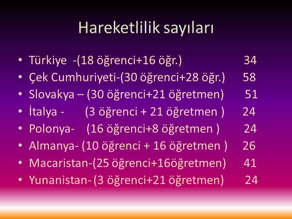 Hareketlilik sayıları Türkiye -(18 öğrenci+16 öğr.) 34 Çek Cumhuriyeti-(30 öğrenci+28 öğr.) 58 Slovakya – (30 öğrenci+21 öğretmen) 51 İtalya - (3 öğrenci + 21 öğretmen ) 24 Polonya- (16 öğrenci+8 öğretmen ) 24 Almanya- (10 öğrenci + 16 öğretmen ) 26 Macaristan-(25 öğrenci+16öğretmen) 41 Yunanistan- (3 öğrenci+21 öğretmen) 24