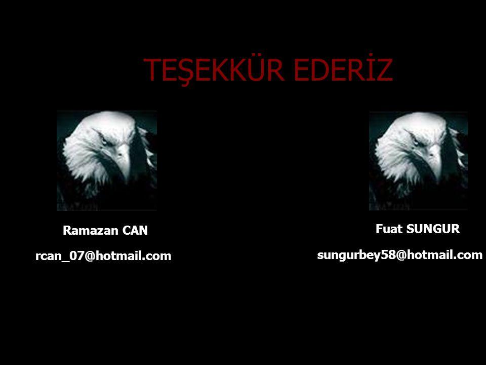 TEŞEKKÜR EDERİZ Ramazan CAN Fuat SUNGUR rcan_07@hotmail.com sungurbey58@hotmail.com