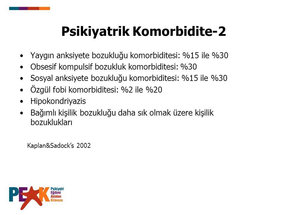 Psikiyatrik Komorbidite-2 Yaygın anksiyete bozukluğu komorbiditesi: %15 ile %30 Obsesif kompulsif bozukluk komorbiditesi: %30 Sosyal anksiyete bozuklu