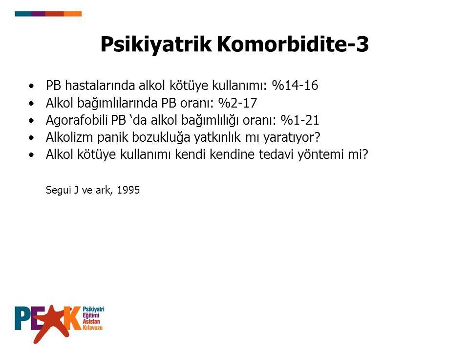Psikiyatrik Komorbidite-3 PB hastalarında alkol kötüye kullanımı: %14-16 Alkol bağımlılarında PB oranı: %2-17 Agorafobili PB 'da alkol bağımlılığı ora
