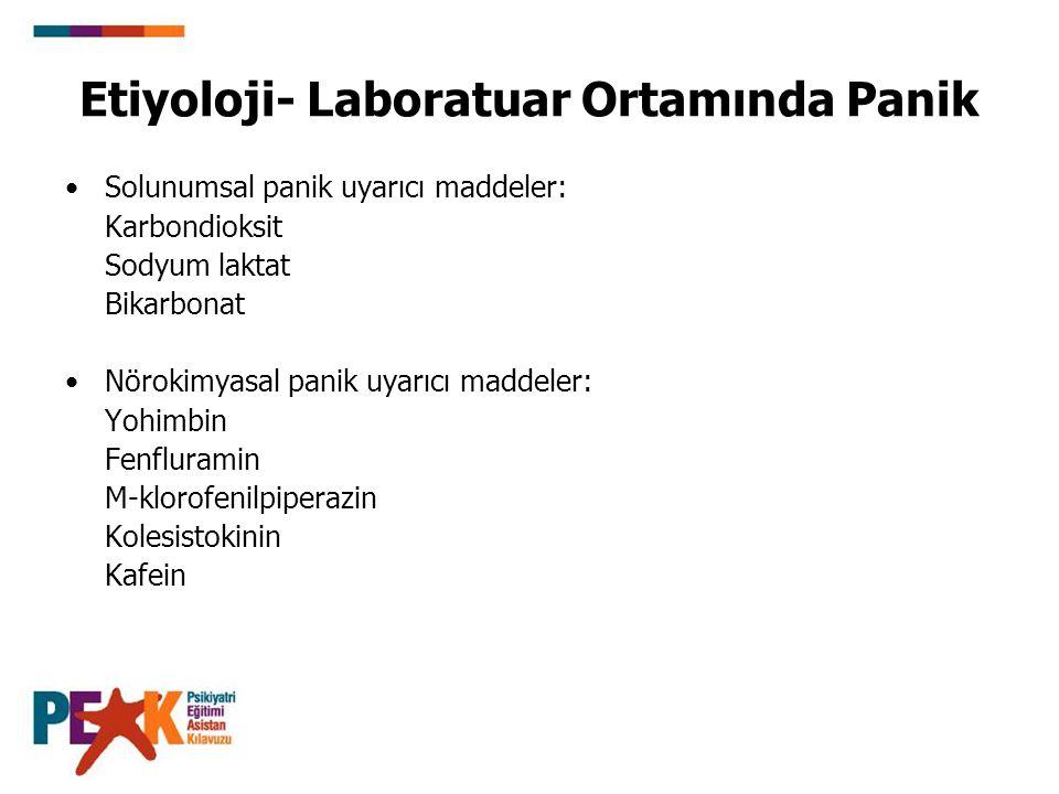 Etiyoloji- Laboratuar Ortamında Panik Solunumsal panik uyarıcı maddeler: Karbondioksit Sodyum laktat Bikarbonat Nörokimyasal panik uyarıcı maddeler: Y