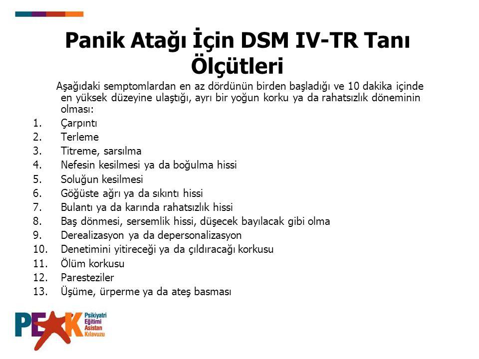 Panik Atağı İçin DSM IV-TR Tanı Ölçütleri Aşağıdaki semptomlardan en az dördünün birden başladığı ve 10 dakika içinde en yüksek düzeyine ulaştığı, ayr