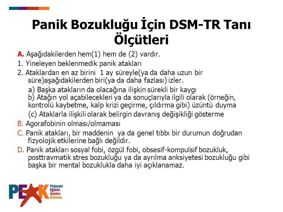 Panik Bozukluğu İçin DSM-TR Tanı Ölçütleri A. Aşağıdakilerden hem(1) hem de (2) vardır. 1. Yineleyen beklenmedik panik atakları 2. Ataklardan en az bi