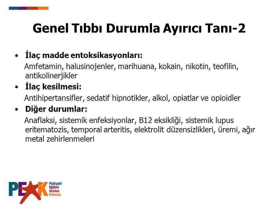 Genel Tıbbı Durumla Ayırıcı Tanı-2 İlaç madde entoksikasyonları: Amfetamin, halusinojenler, marihuana, kokain, nikotin, teofilin, antikolinerjikler İl