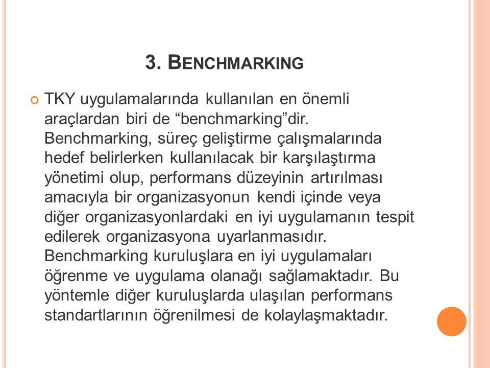 """3. B ENCHMARKING TKY uygulamalarında kullanılan en önemli araçlardan biri de """"benchmarking""""dir. Benchmarking, süreç geliştirme çalışmalarında hedef be"""