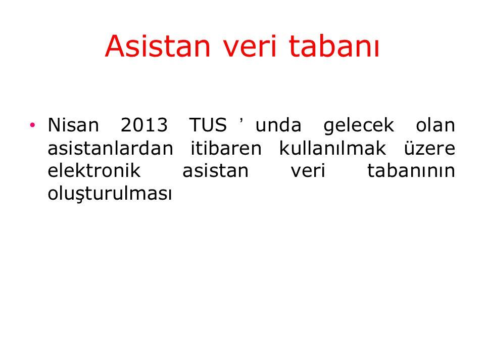 Asistan veri tabanı Nisan 2013 TUS'unda gelecek olan asistanlardan itibaren kullanılmak üzere elektronik asistan veri tabanının oluşturulması