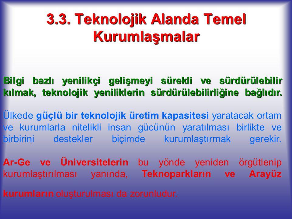 3.3. Teknolojik Alanda Temel Kurumlaşmalar Bilgi bazlı yenilikçi gelişmeyi sürekli ve sürdürülebilir kılmak, teknolojik yeniliklerin sürdürülebilirliğ