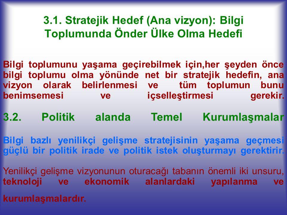 3.1. Stratejik Hedef (Ana vizyon): Bilgi Toplumunda Önder Ülke Olma Hedefi Bilgi toplumunu yaşama geçirebilmek için,her şeyden önce bilgi toplumu olma