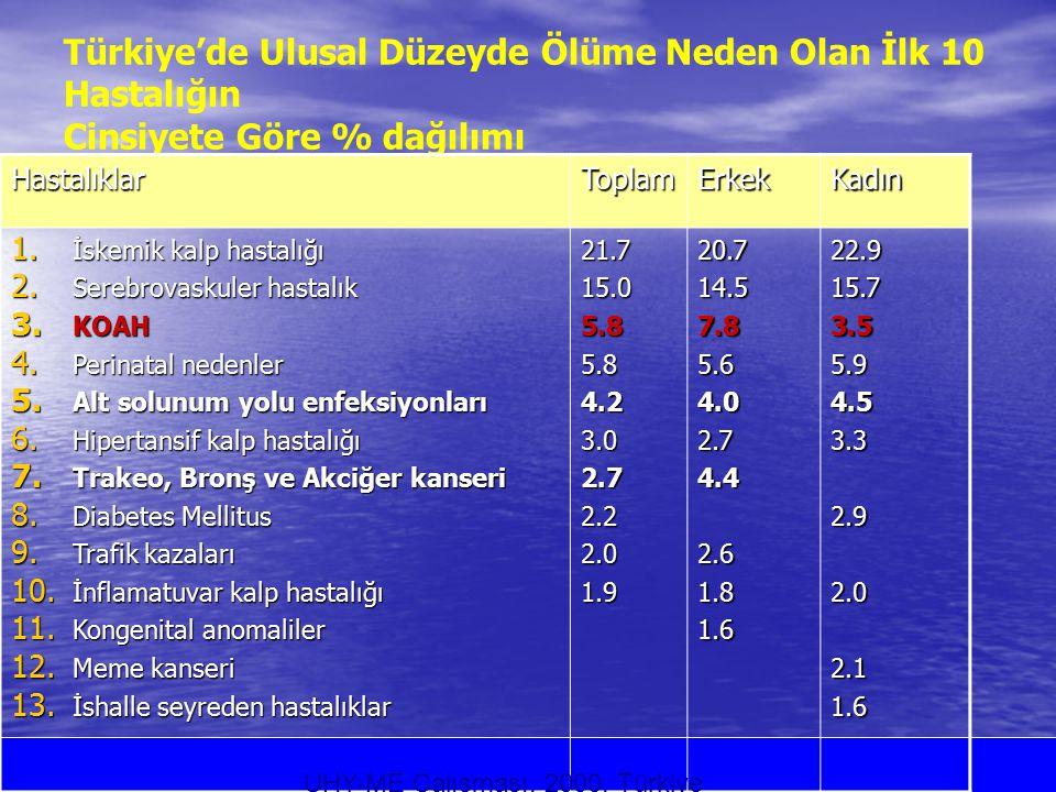 Türkiye'de Ulusal Düzeyde Ölüme Neden Olan İlk 10 Hastalığın Cinsiyete Göre % dağılımı HastalıklarToplamErkekKadın 1. İskemik kalp hastalığı 2. Serebr