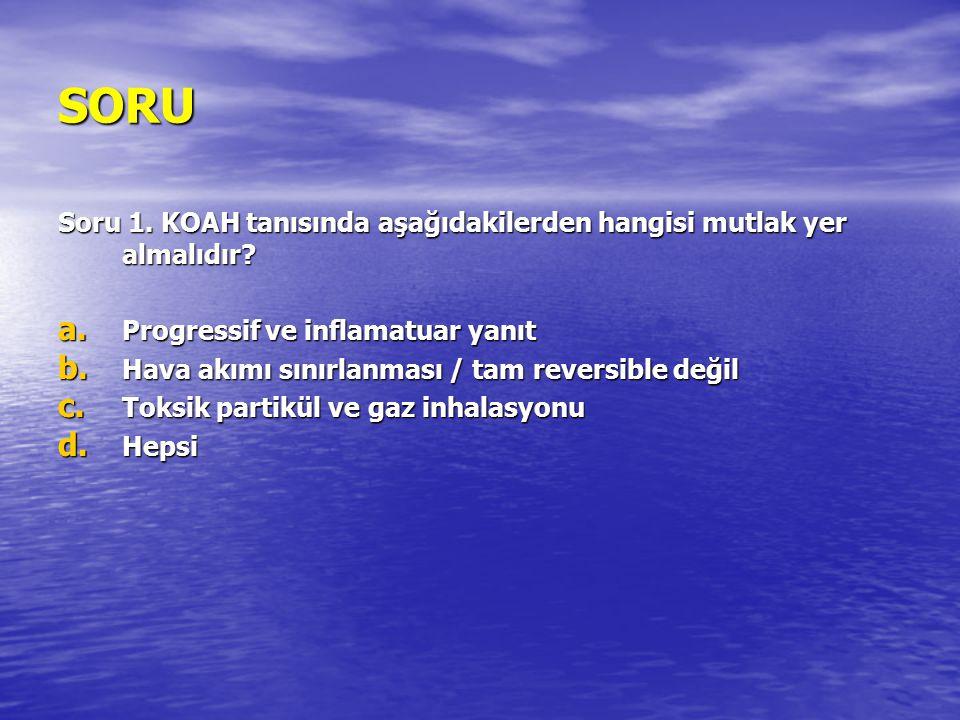 KOAH Tanımı KOAH; tam olarak geri dönüşlü olmayan hava akımı sınırlanması ile karakterize bir hastalıktır.