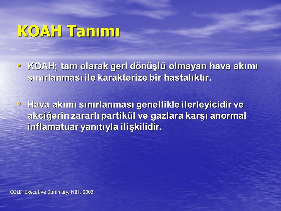 KOAH Tanımı KOAH; tam olarak geri dönüşlü olmayan hava akımı sınırlanması ile karakterize bir hastalıktır. KOAH; tam olarak geri dönüşlü olmayan hava
