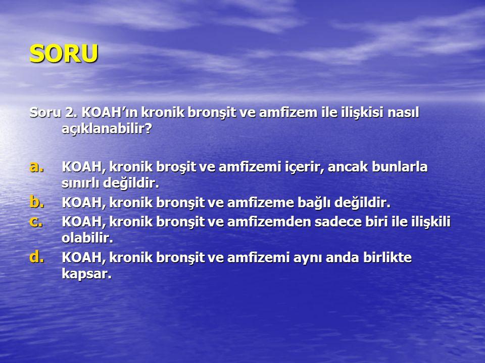 SORU Soru 2. KOAH'ın kronik bronşit ve amfizem ile ilişkisi nasıl açıklanabilir? a. KOAH, kronik broşit ve amfizemi içerir, ancak bunlarla sınırlı değ