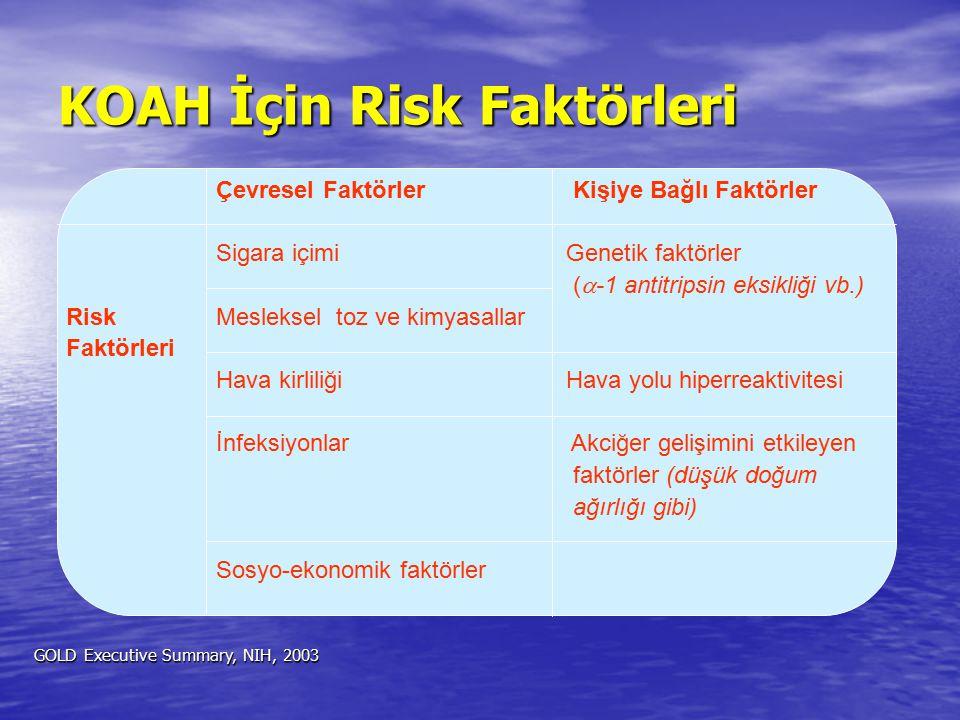 Çevresel Faktörler Kişiye Bağlı Faktörler Sigara içimiGenetik faktörler (  -1 antitripsin eksikliği vb.) Risk Mesleksel toz ve kimyasallar Faktörleri