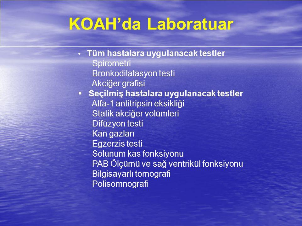 KOAH'da Laboratuar Tüm hastalara uygulanacak testler Spirometri Bronkodilatasyon testi Akciğer grafisi  Seçilmiş hastalara uygulanacak testler Alfa-1