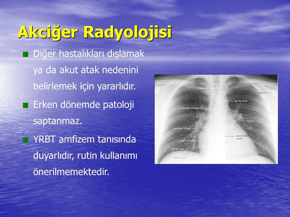 Akciğer Radyolojisi Diğer hastalıkları dışlamak ya da akut atak nedenini belirlemek için yararlıdır. Erken dönemde patoloji saptanmaz. YRBT amfizem ta