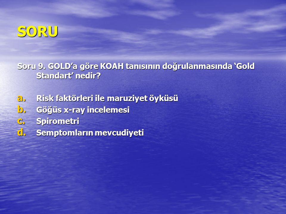 SORU Soru 9. GOLD'a göre KOAH tanısının doğrulanmasında 'Gold Standart' nedir? a. Risk faktörleri ile maruziyet öyküsü b. Göğüs x-ray incelemesi c. Sp