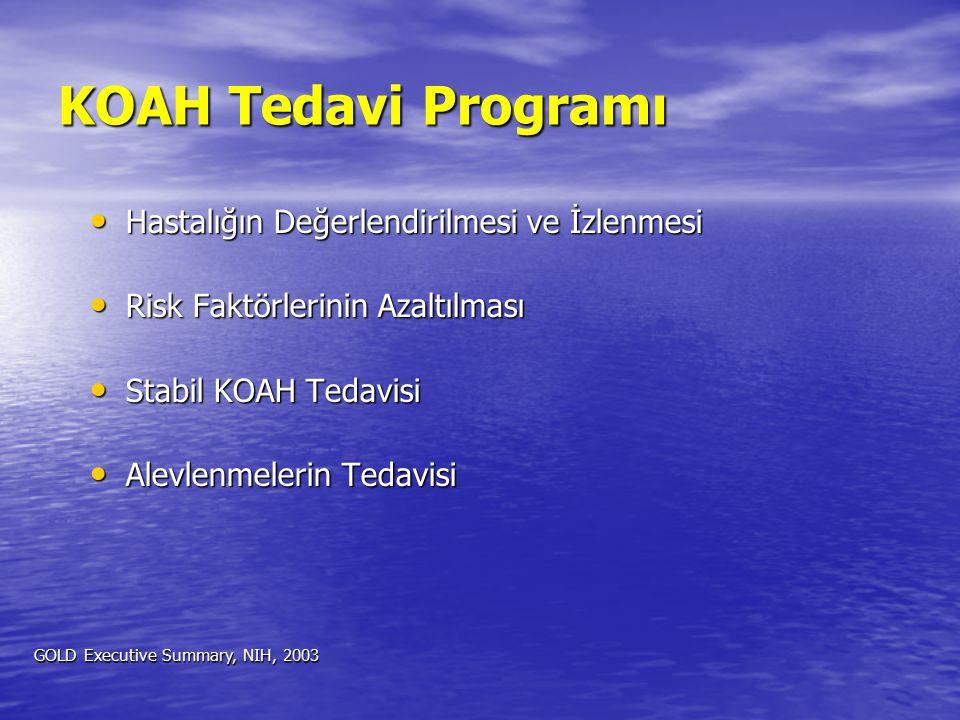 KOAH Tedavi Programı Hastalığın Değerlendirilmesi ve İzlenmesi Hastalığın Değerlendirilmesi ve İzlenmesi Risk Faktörlerinin Azaltılması Risk Faktörler