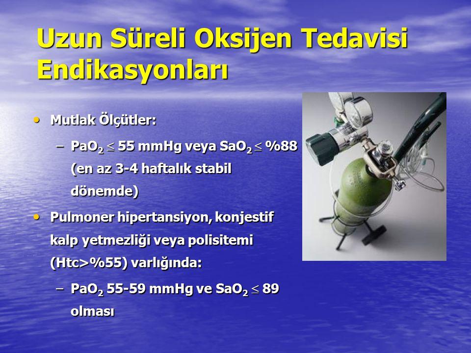 Uzun Süreli Oksijen Tedavisi Endikasyonları Mutlak Ölçütler: Mutlak Ölçütler: –PaO 2  55 mmHg veya SaO 2  %88 (en az 3-4 haftalık stabil dönemde) Pu