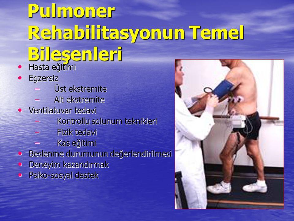 Pulmoner Rehabilitasyonun Temel Bileşenleri Hasta eğitimi Hasta eğitimi Egzersiz Egzersiz – Üst ekstremite – Alt ekstremite Ventilatuvar tedavi Ventil