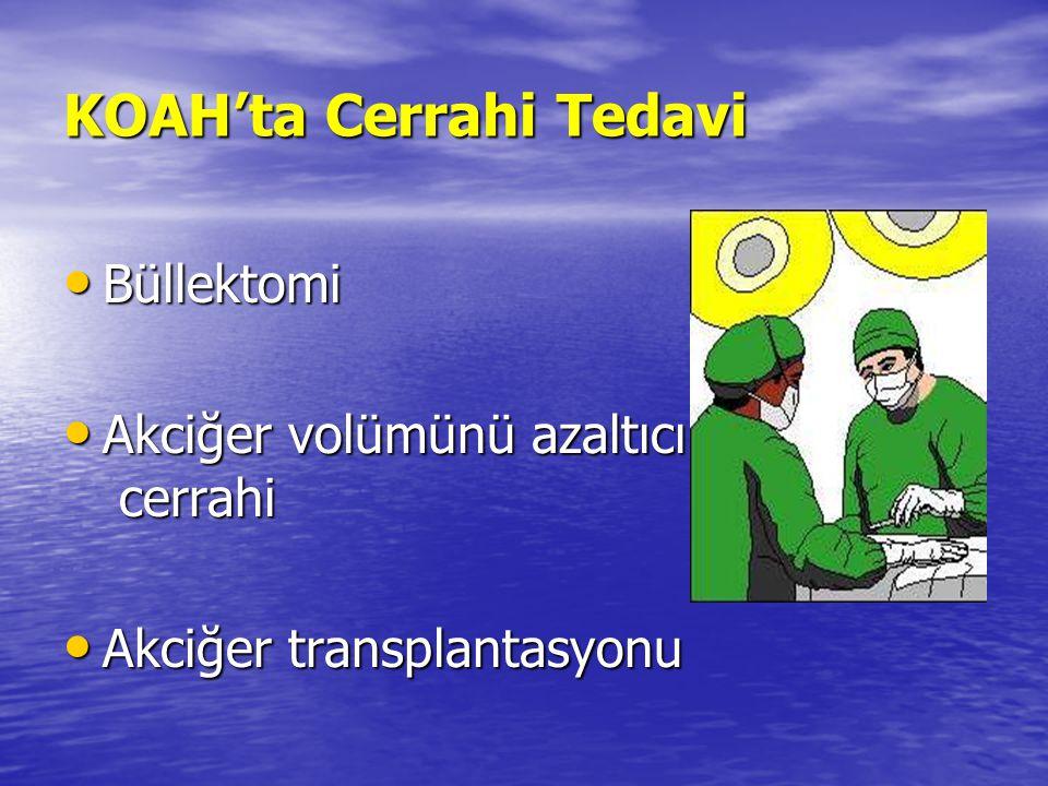 KOAH'ta Cerrahi Tedavi Büllektomi Büllektomi Akciğer volümünü azaltıcı cerrahi Akciğer volümünü azaltıcı cerrahi Akciğer transplantasyonu Akciğer tran