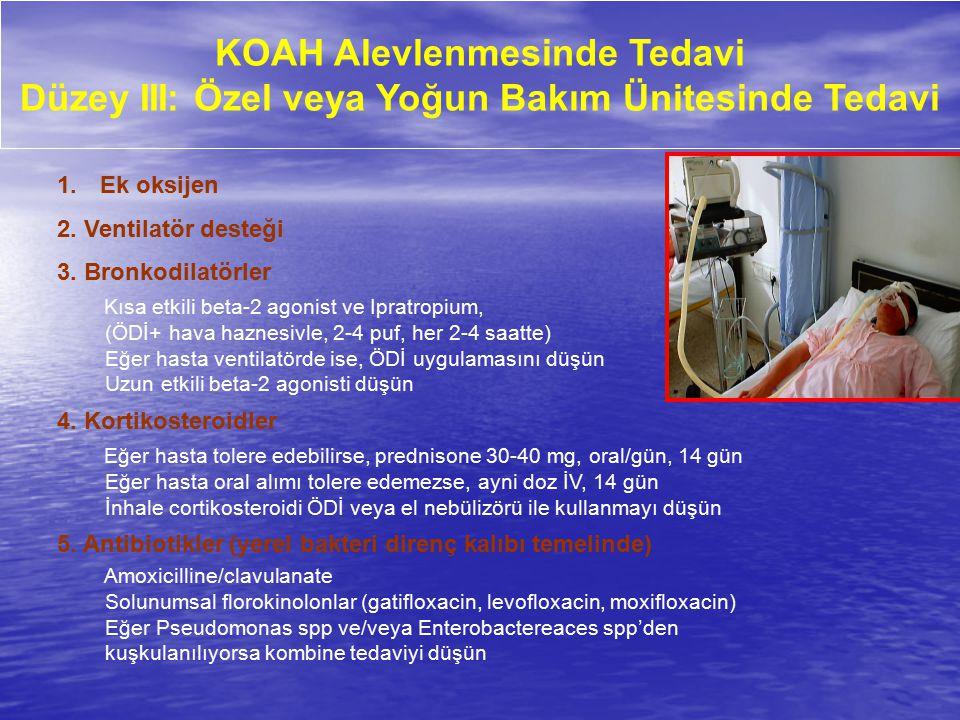 KOAH Alevlenmesinde Tedavi Düzey III: Özel veya Yoğun Bakım Ünitesinde Tedavi 1. Ek oksijen 2. Ventilatör desteği 3. Bronkodilatörler Kısa etkili beta