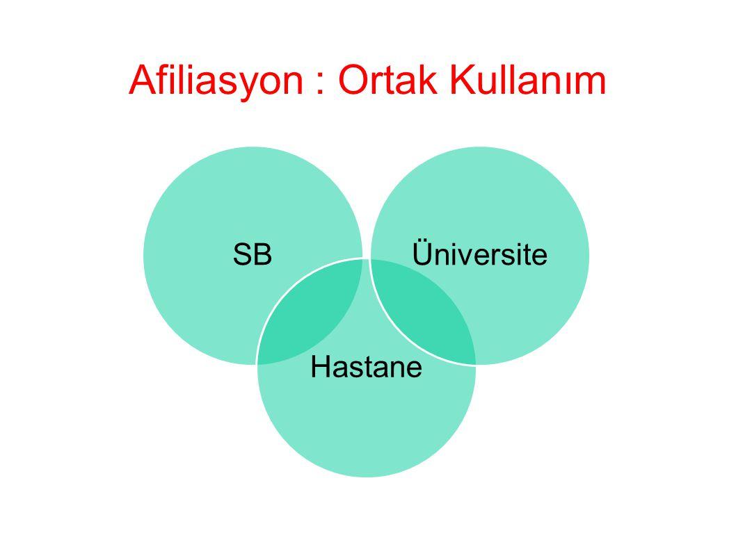 Afiliasyon : Ortak Kullanım SBHastaneÜniversite