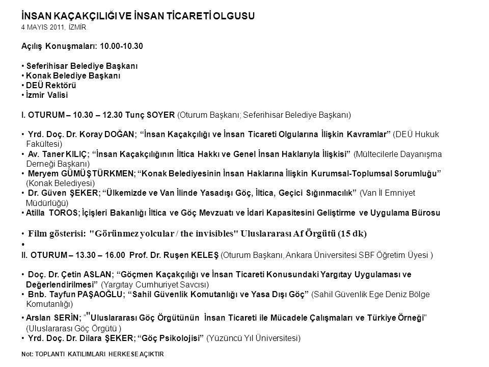 İNSAN KAÇAKÇILIĞI VE İNSAN TİCARETİ OLGUSU 4 MAYIS 2011, İZMİR Açılış Konuşmaları: 10.00-10.30 Seferihisar Belediye Başkanı Konak Belediye Başkanı DEÜ Rektörü İzmir Valisi I.