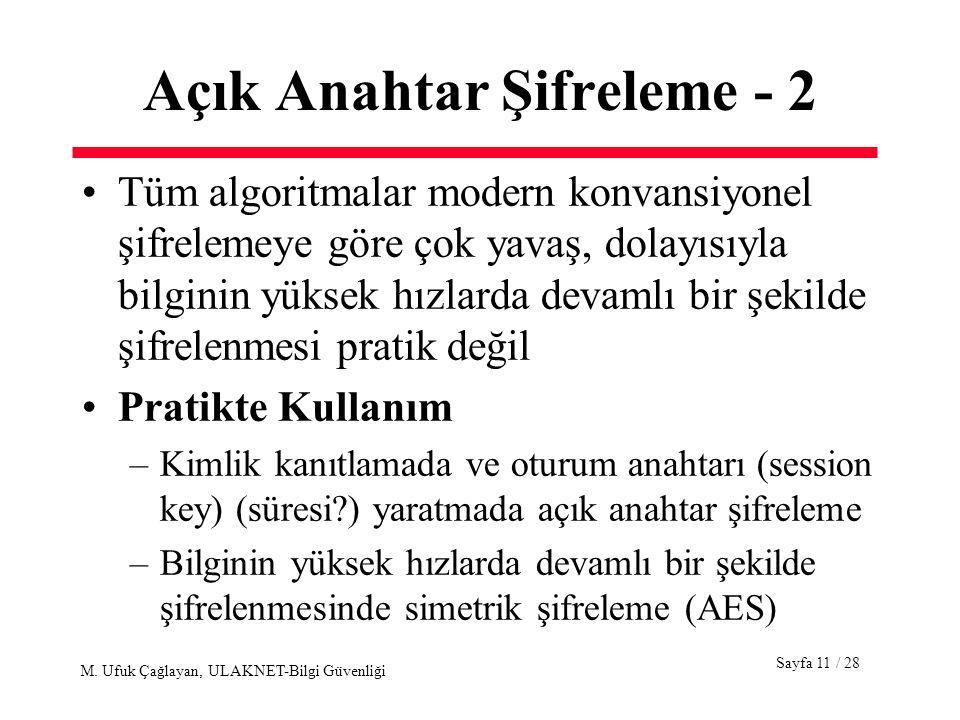 Sayfa 11 / 28 M. Ufuk Çağlayan, ULAKNET-Bilgi Güvenliği Açık Anahtar Şifreleme - 2 Tüm algoritmalar modern konvansiyonel şifrelemeye göre çok yavaş, d