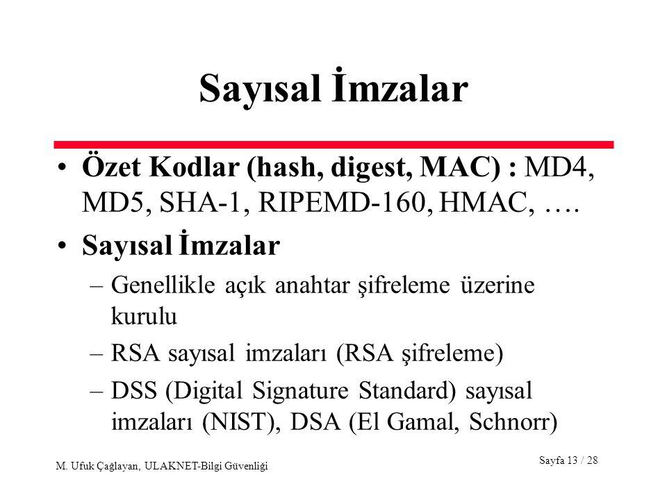 Sayfa 13 / 28 M. Ufuk Çağlayan, ULAKNET-Bilgi Güvenliği Sayısal İmzalar Özet Kodlar (hash, digest, MAC) : MD4, MD5, SHA-1, RIPEMD-160, HMAC, …. Sayısa