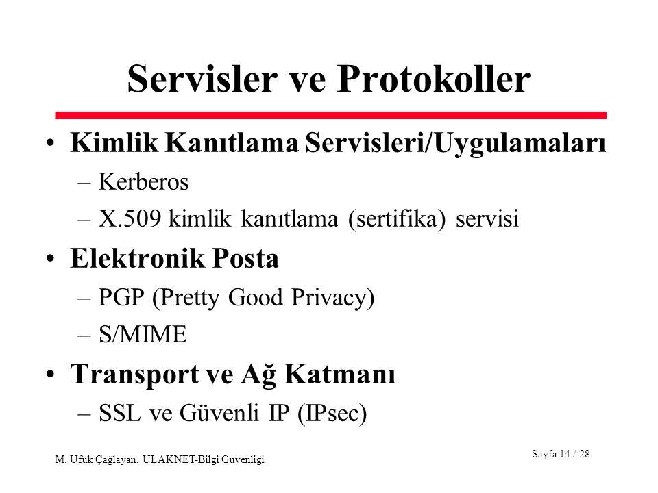 Sayfa 14 / 28 M. Ufuk Çağlayan, ULAKNET-Bilgi Güvenliği Servisler ve Protokoller Kimlik Kanıtlama Servisleri/Uygulamaları –Kerberos –X.509 kimlik kanı