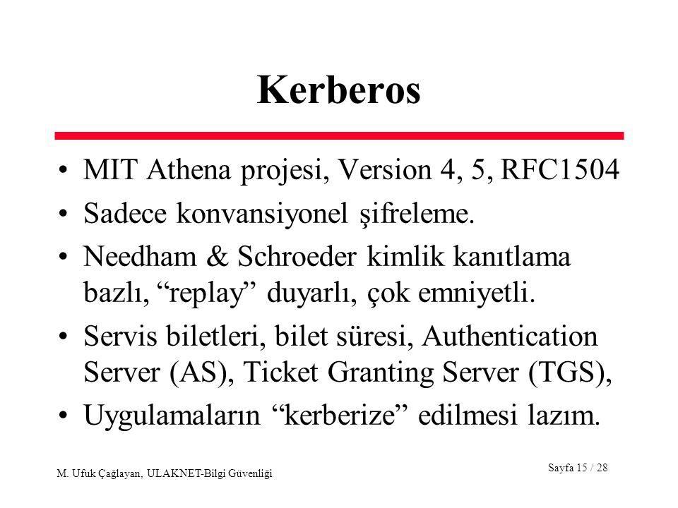 Sayfa 15 / 28 M. Ufuk Çağlayan, ULAKNET-Bilgi Güvenliği Kerberos MIT Athena projesi, Version 4, 5, RFC1504 Sadece konvansiyonel şifreleme. Needham & S