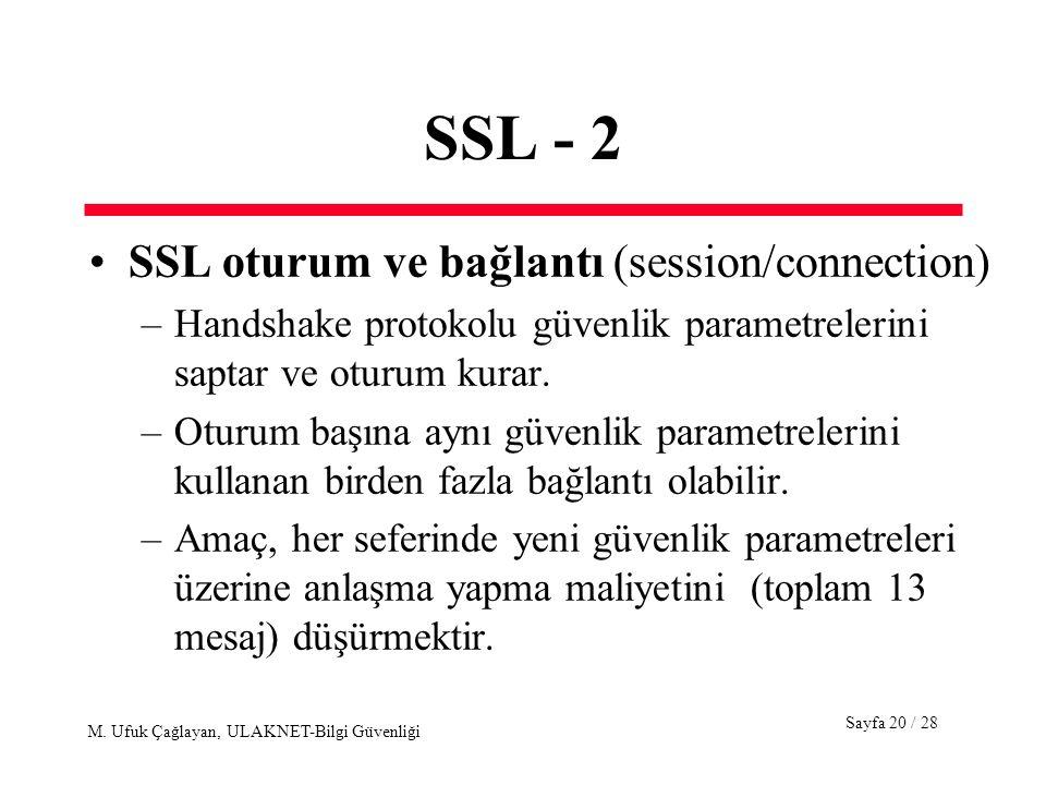 Sayfa 20 / 28 M. Ufuk Çağlayan, ULAKNET-Bilgi Güvenliği SSL - 2 SSL oturum ve bağlantı (session/connection) –Handshake protokolu güvenlik parametreler
