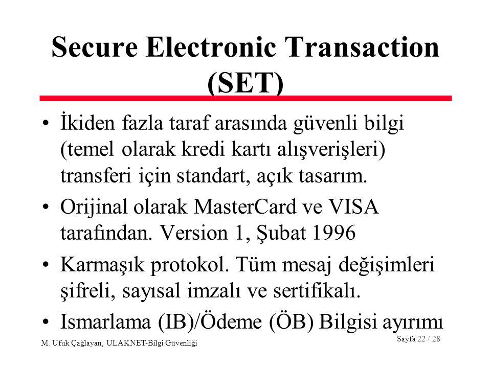 Sayfa 22 / 28 M. Ufuk Çağlayan, ULAKNET-Bilgi Güvenliği Secure Electronic Transaction (SET) İkiden fazla taraf arasında güvenli bilgi (temel olarak kr