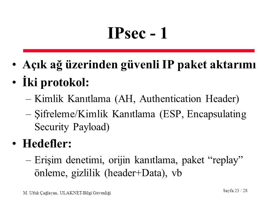 Sayfa 23 / 28 M. Ufuk Çağlayan, ULAKNET-Bilgi Güvenliği IPsec - 1 Açık ağ üzerinden güvenli IP paket aktarımı İki protokol: –Kimlik Kanıtlama (AH, Aut