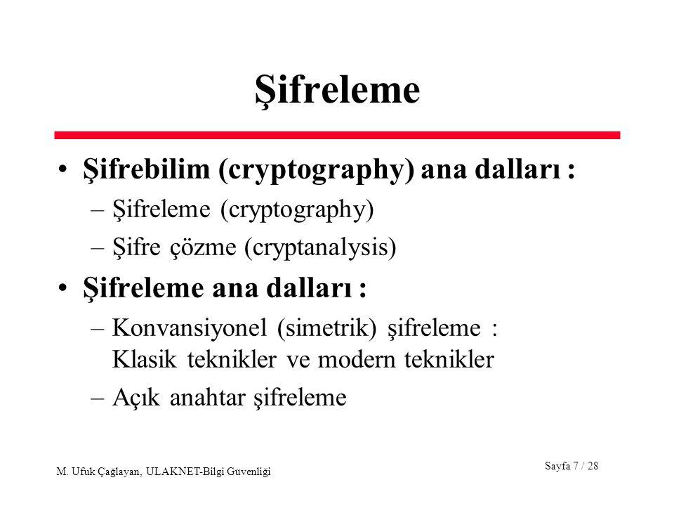 Sayfa 7 / 28 M. Ufuk Çağlayan, ULAKNET-Bilgi Güvenliği Şifreleme Şifrebilim (cryptography) ana dalları : –Şifreleme (cryptography) –Şifre çözme (crypt