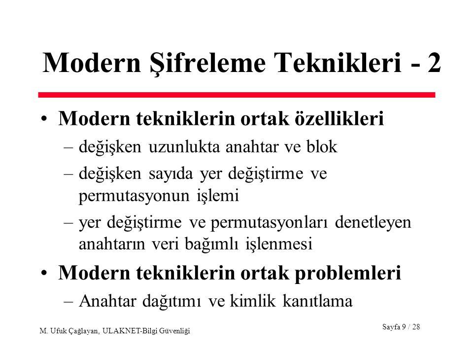 Sayfa 9 / 28 M. Ufuk Çağlayan, ULAKNET-Bilgi Güvenliği Modern Şifreleme Teknikleri - 2 Modern tekniklerin ortak özellikleri –değişken uzunlukta anahta