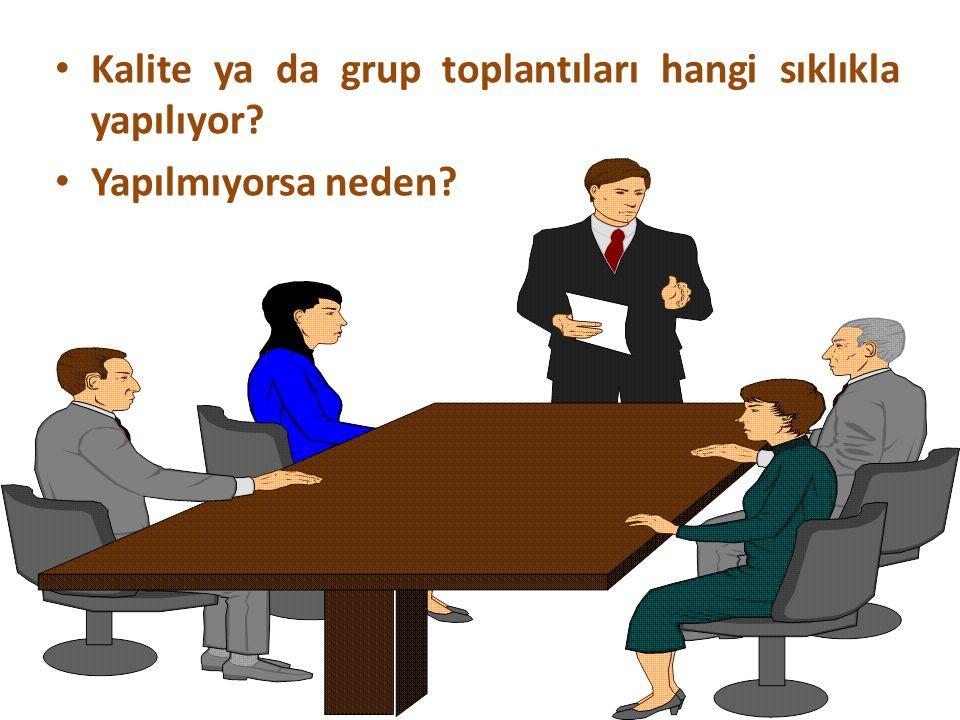 Kalite ya da grup toplantıları hangi sıklıkla yapılıyor Yapılmıyorsa neden