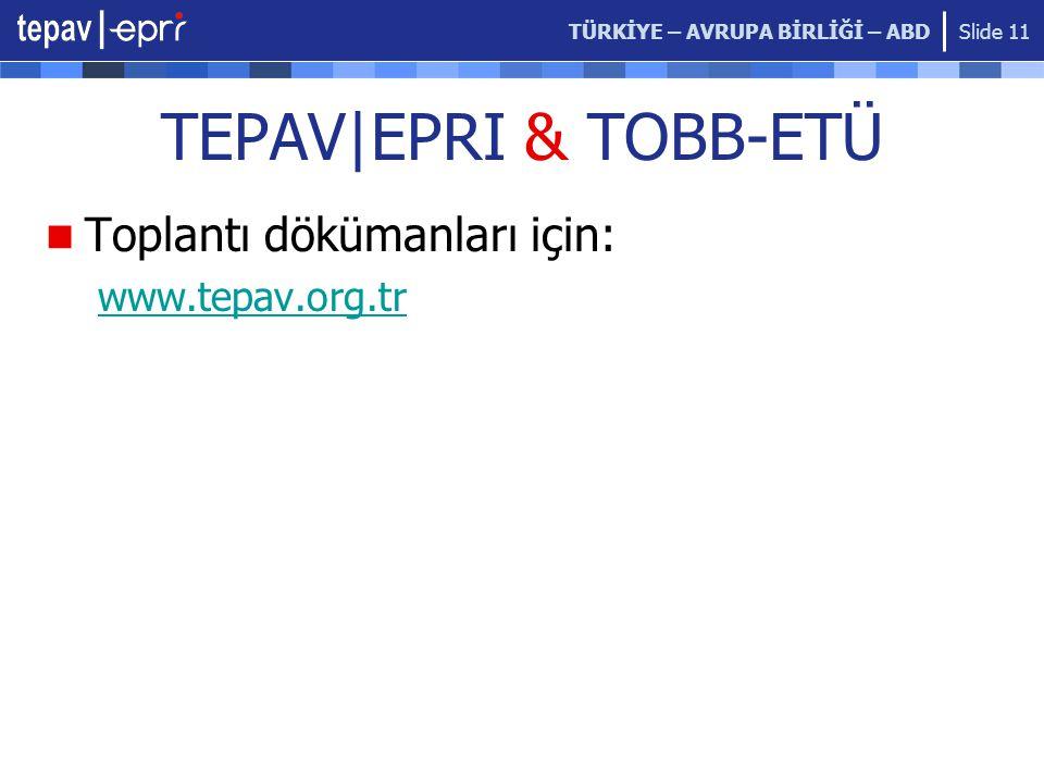TÜRKİYE – AVRUPA BİRLİĞİ – ABD Slide 11 TEPAV|EPRI & TOBB-ETÜ Toplantı dökümanları için: www.tepav.org.tr