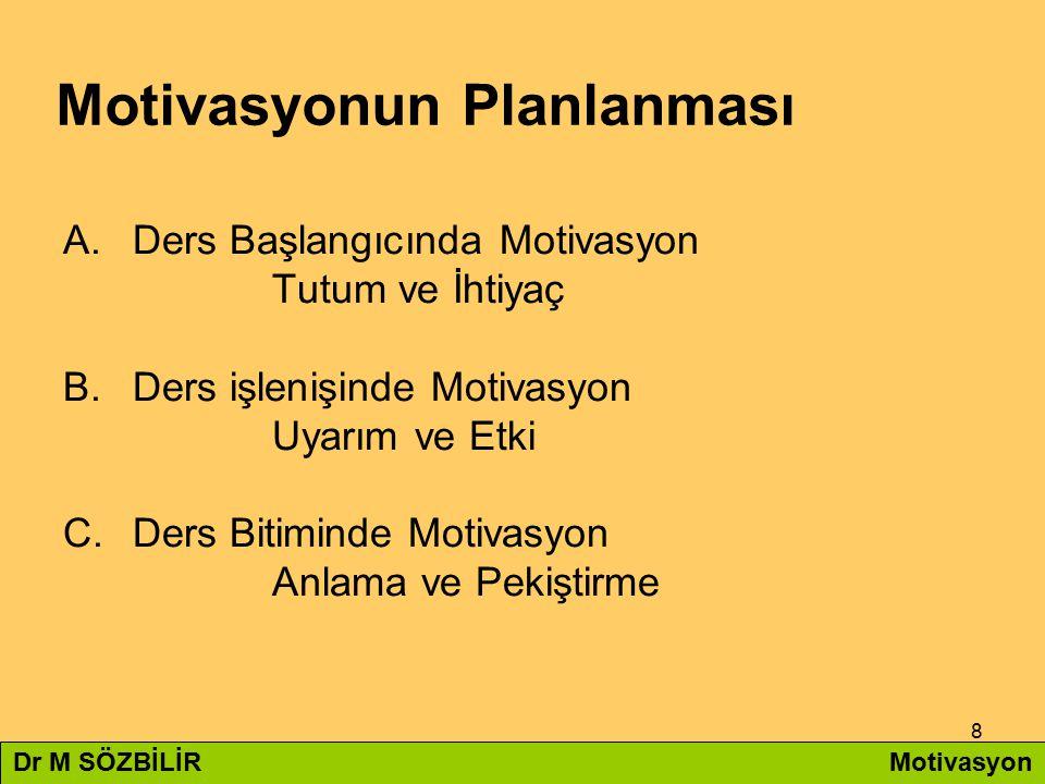 8 Motivasyonun Planlanması A.Ders Başlangıcında Motivasyon Tutum ve İhtiyaç B.Ders işlenişinde Motivasyon Uyarım ve Etki C.Ders Bitiminde Motivasyon A