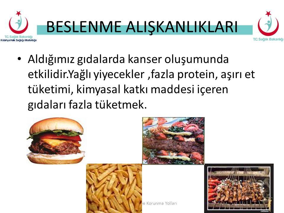 BESLENME ALIŞKANLIKLARI Aldığımız gıdalarda kanser oluşumunda etkilidir.Yağlı yiyecekler,fazla protein, aşırı et tüketimi, kimyasal katkı maddesi içeren gıdaları fazla tüketmek.