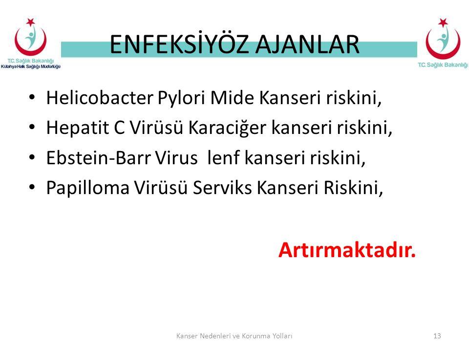ENFEKSİYÖZ AJANLAR Helicobacter Pylori Mide Kanseri riskini, Hepatit C Virüsü Karaciğer kanseri riskini, Ebstein-Barr Virus lenf kanseri riskini, Papilloma Virüsü Serviks Kanseri Riskini, Artırmaktadır.