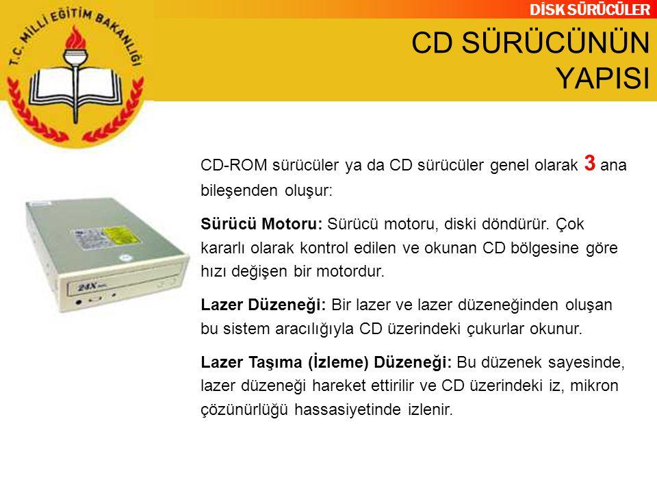 DİSK SÜRÜCÜLER CD SÜRÜCÜNÜN YAPISI CD-ROM sürücüler ya da CD sürücüler genel olarak 3 ana bileşenden oluşur: Sürücü Motoru: Sürücü motoru, diski döndü