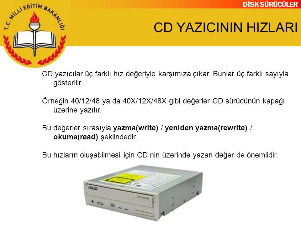 DİSK SÜRÜCÜLER CD YAZICININ HIZLARI CD yazıcılar üç farklı hız değeriyle karşımıza çıkar. Bunlar üç farklı sayıyla gösterilir. Örneğin 40/12/48 ya da